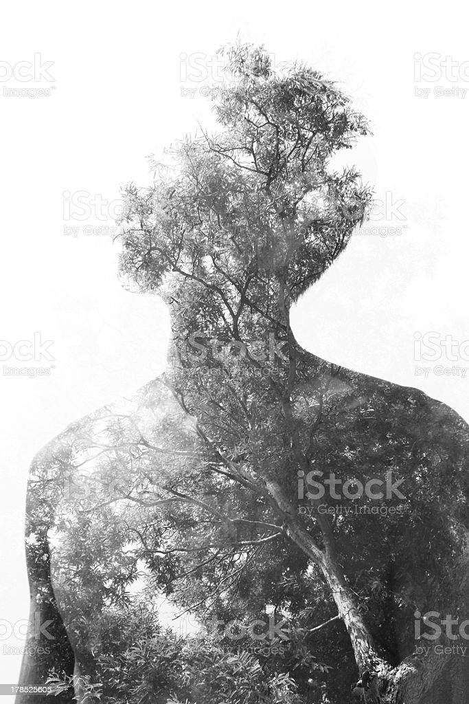 Abstract black and white nature in the shape of a human royalty-free stock photo