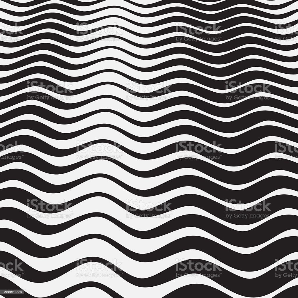 Abstract black and white wavy stripes background stock photo
