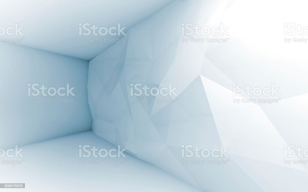Abstract blue 3d interior with polygonal pattern stock photo