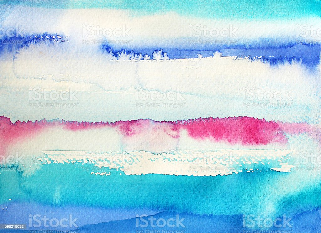 Abstract blue and pink watercolor stripes. stock photo