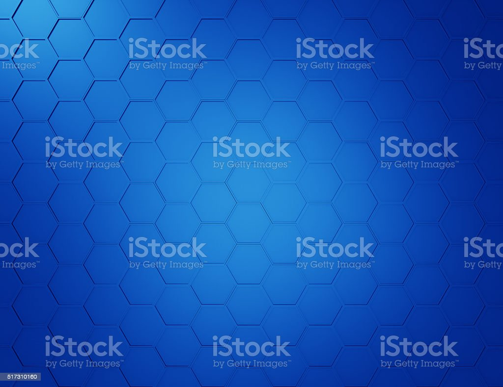 Abstract blue background with hexagons and wires stock photo