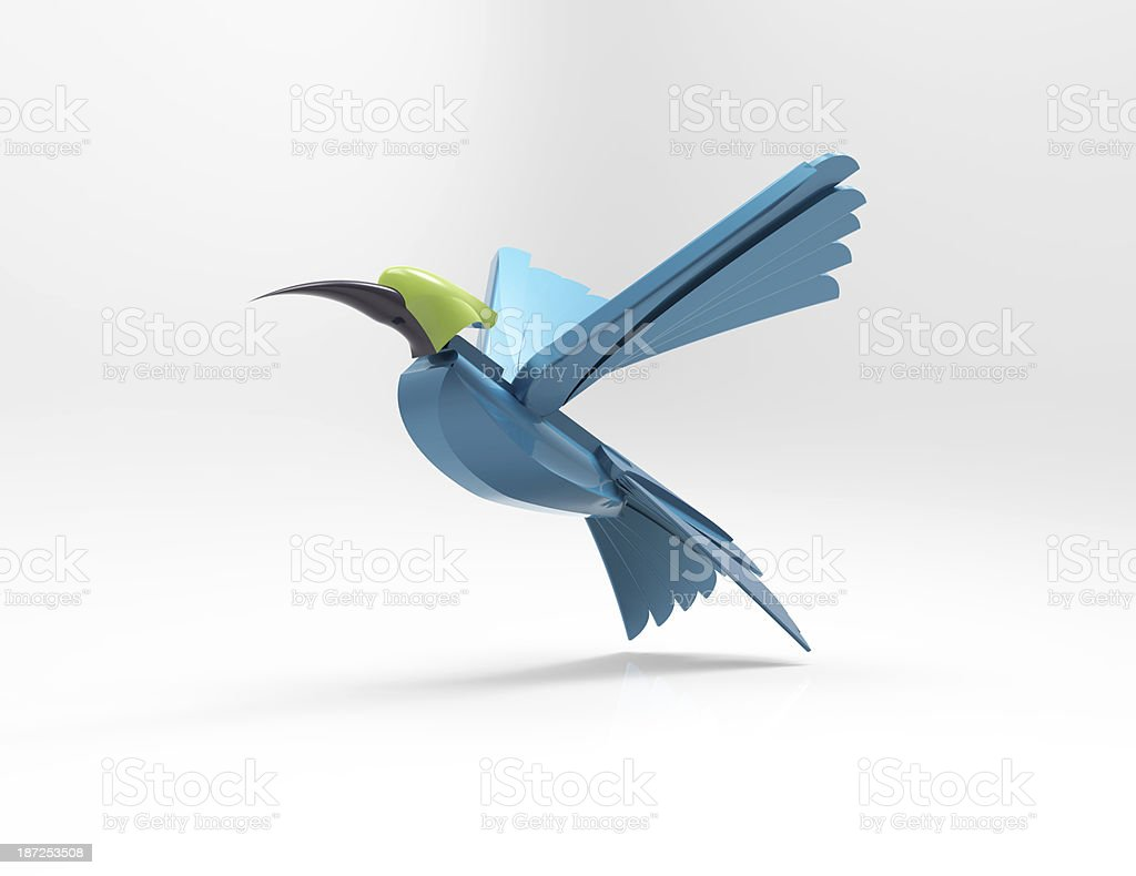 Abstract Blue Bird 3d concept royalty-free stock photo