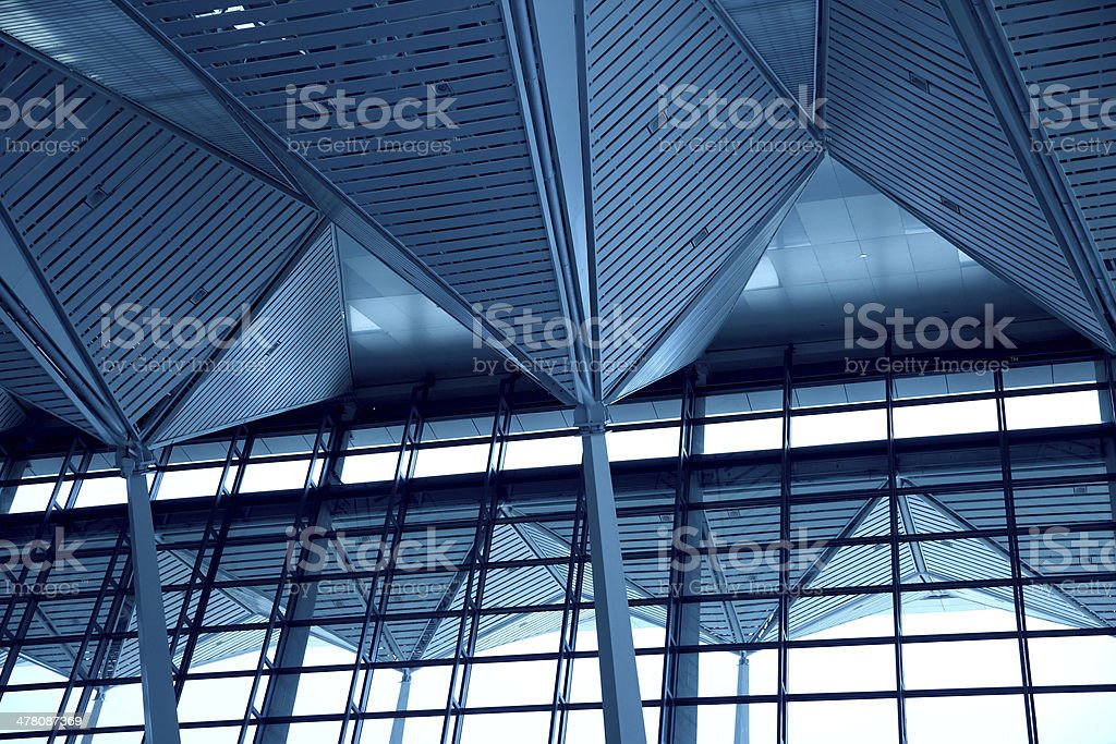 Abstract blue ceiling interior background royalty-free stock photo