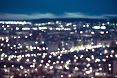 abstract blue circular bokeh background, city lights