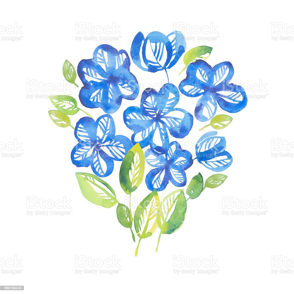 abstract blue color floral elements. watercolor hand drawn illus stock photo
