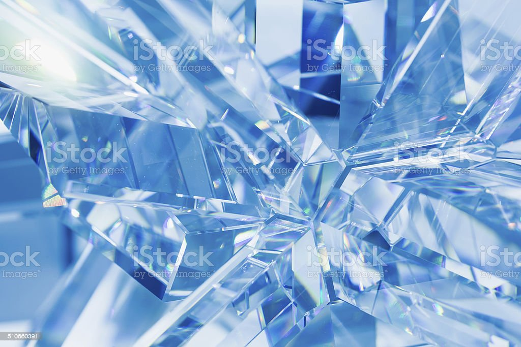 abstract blue crystal refractions stock photo