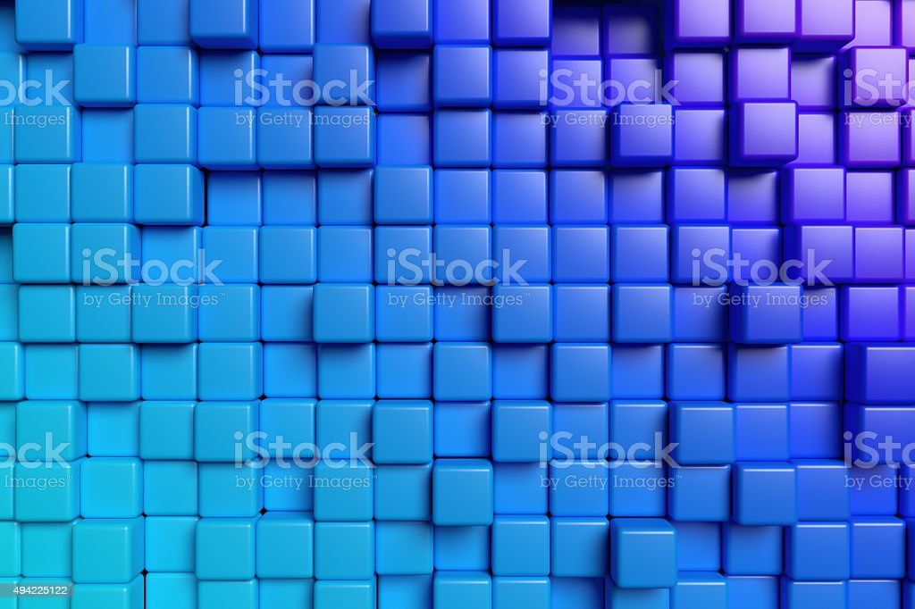 Abstract blue cubes 3d background stock photo
