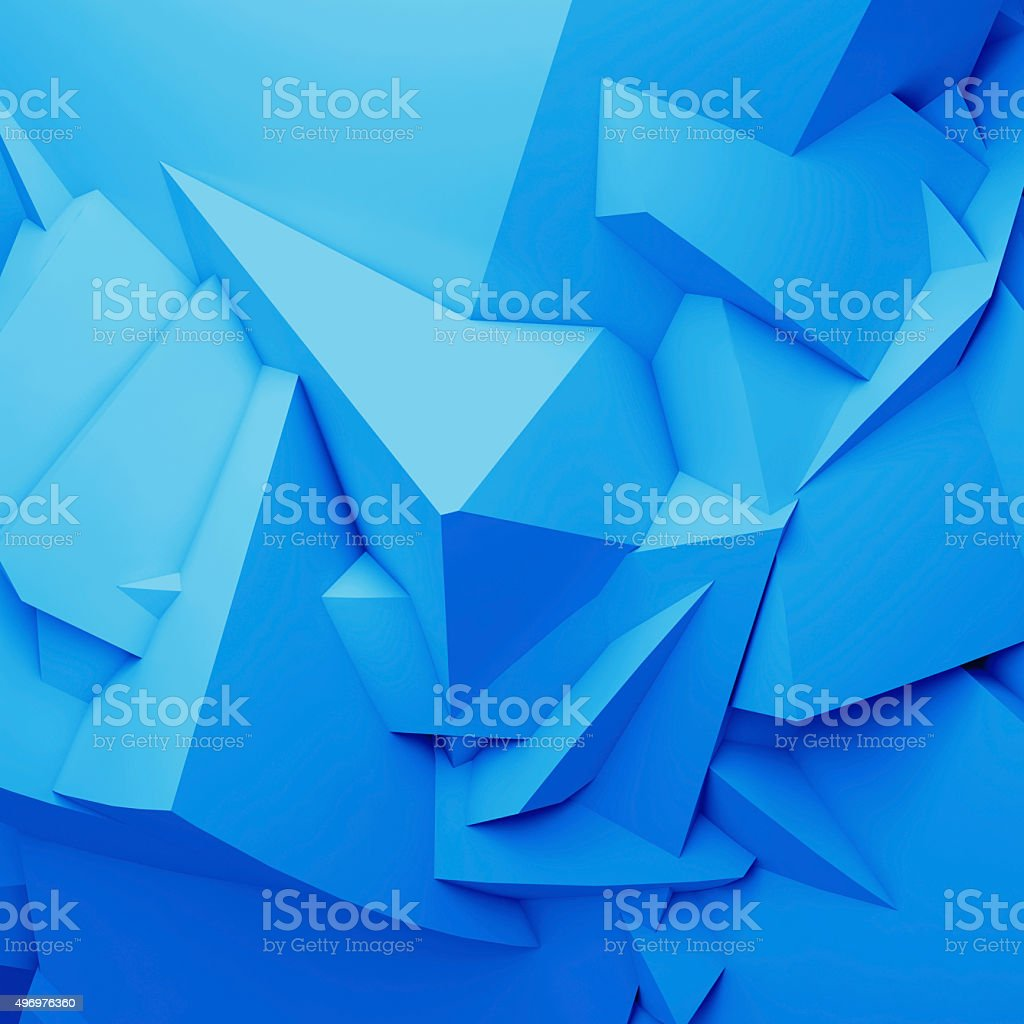 Abstract blue digital 3d chaotic polygonal surface stock photo