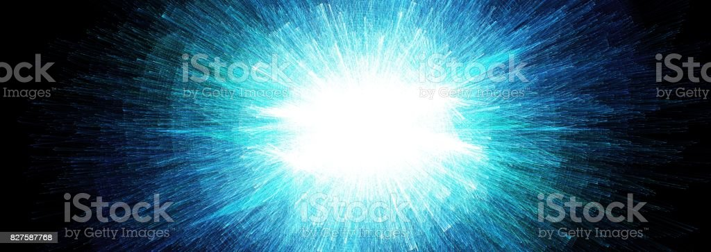 Abstract blue explode energy fractal with motion effect stock photo