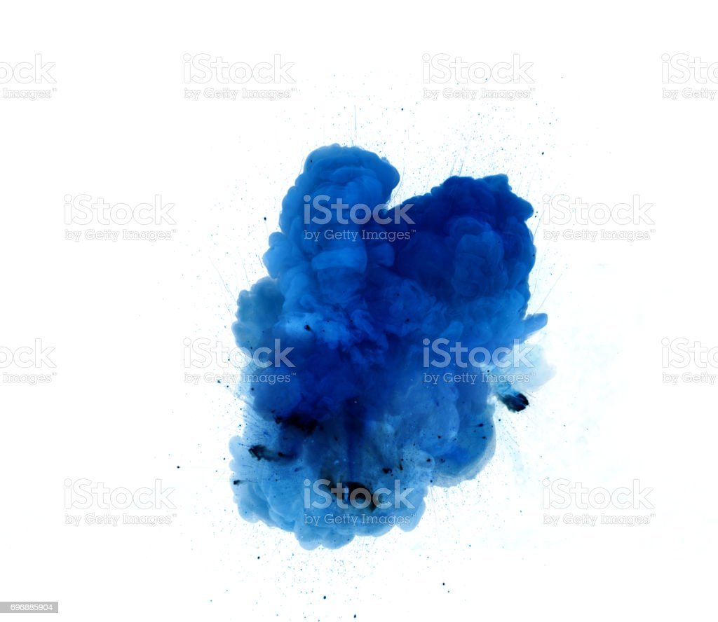 Abstract, blue explosion of fire against white background stock photo