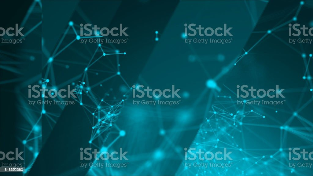 abstract blue geometrical background with moving lines and dots stock photo