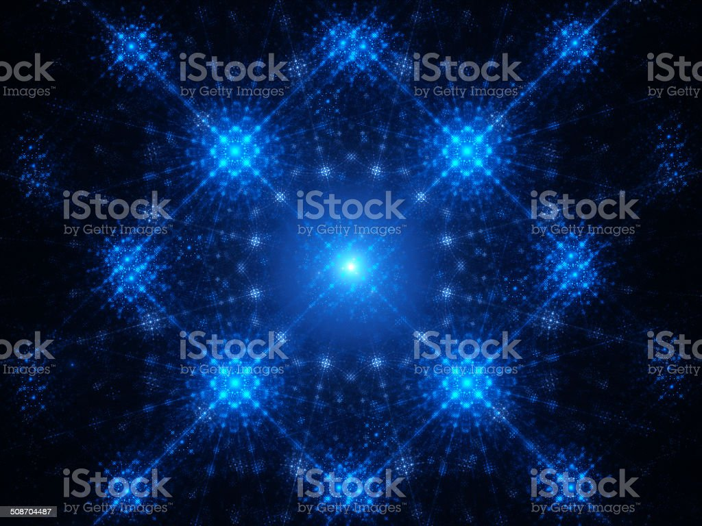 Abstract blue glowing snowflake royalty-free stock photo