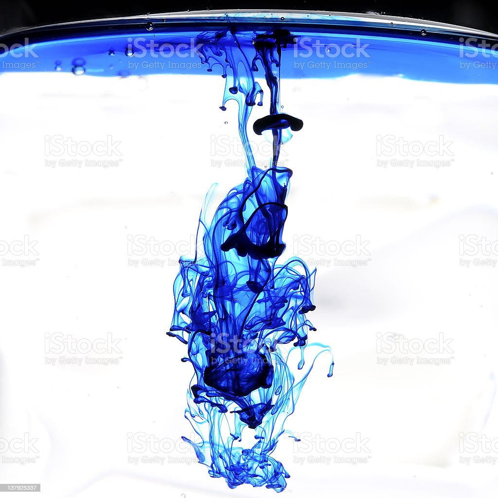 Abstract blue ink stock photo