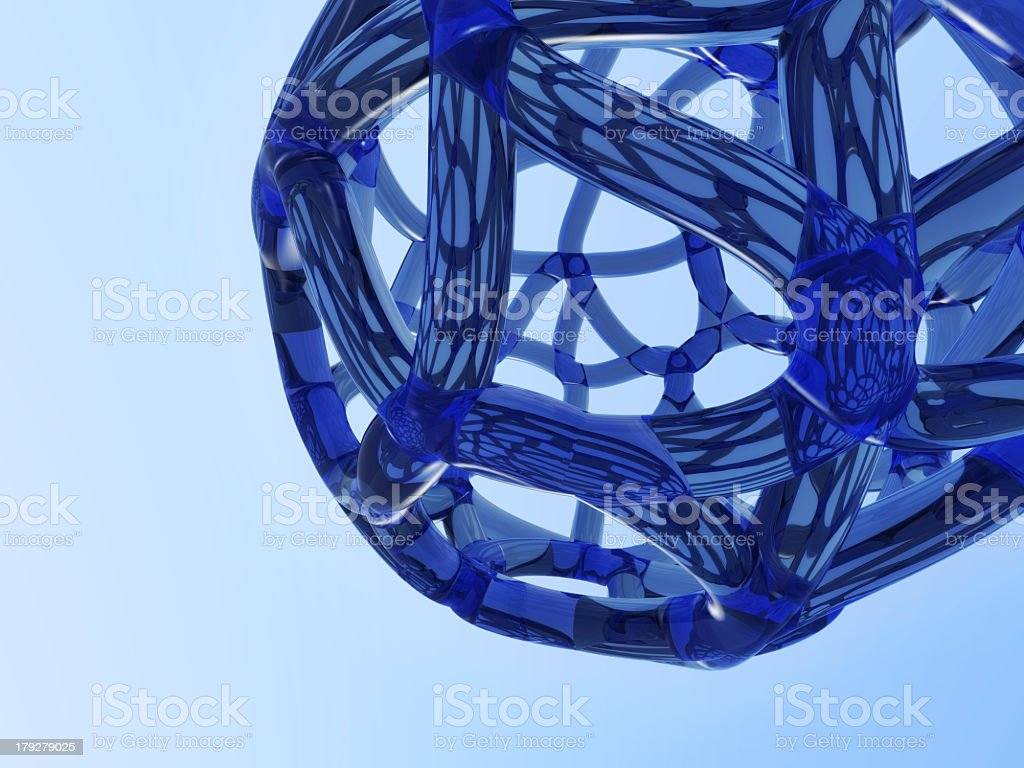 abstract blue molecule royalty-free stock photo