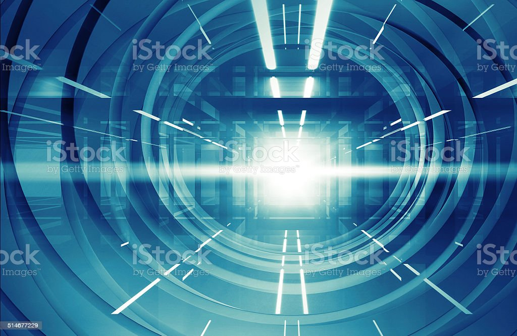 Abstract blue shining 3d tunnel interior with neon lights stock photo
