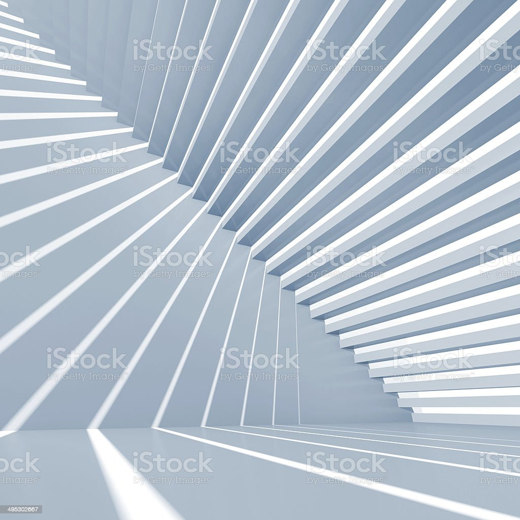 Abstract blue square 3d interior background with staircase stock photo