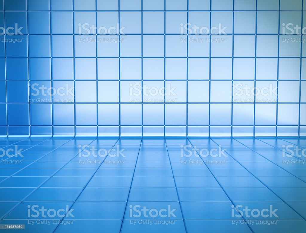 Abstract blue tile 3D space with depth stock photo