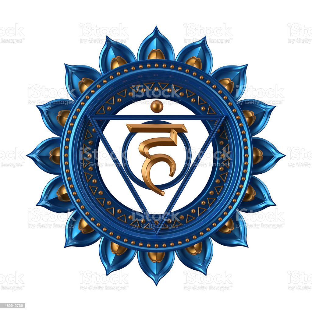 abstract blue Vishuddha chakra symbol, 3d modern illustration stock photo