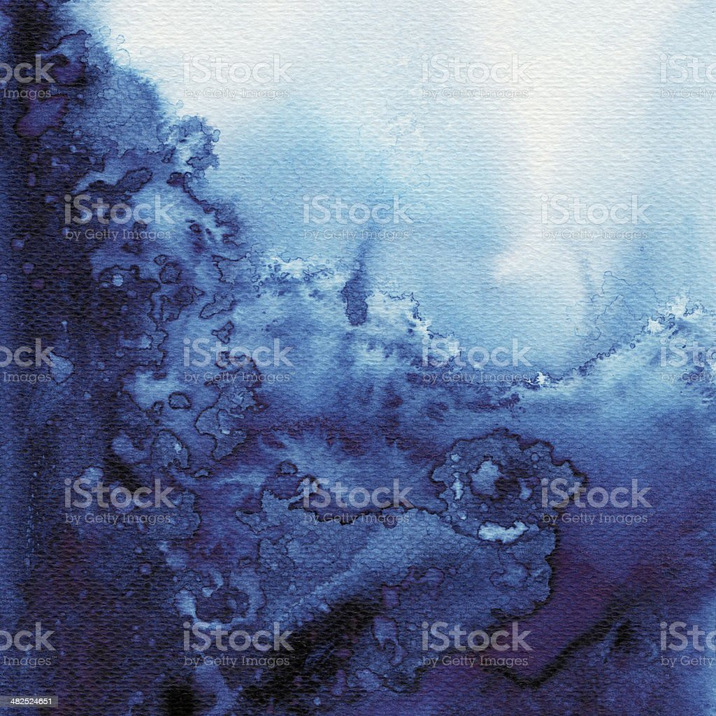 Abstract blue watercolors stock photo