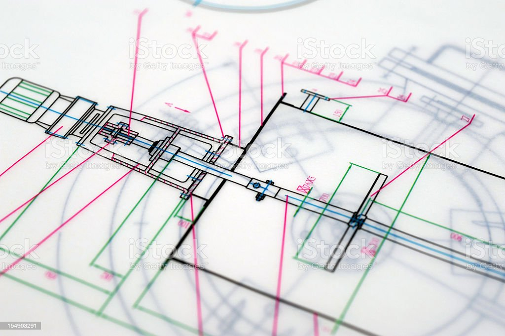 Abstract Blueprint Drafting-Technical Drawing Paperwork Printout royalty-free stock photo