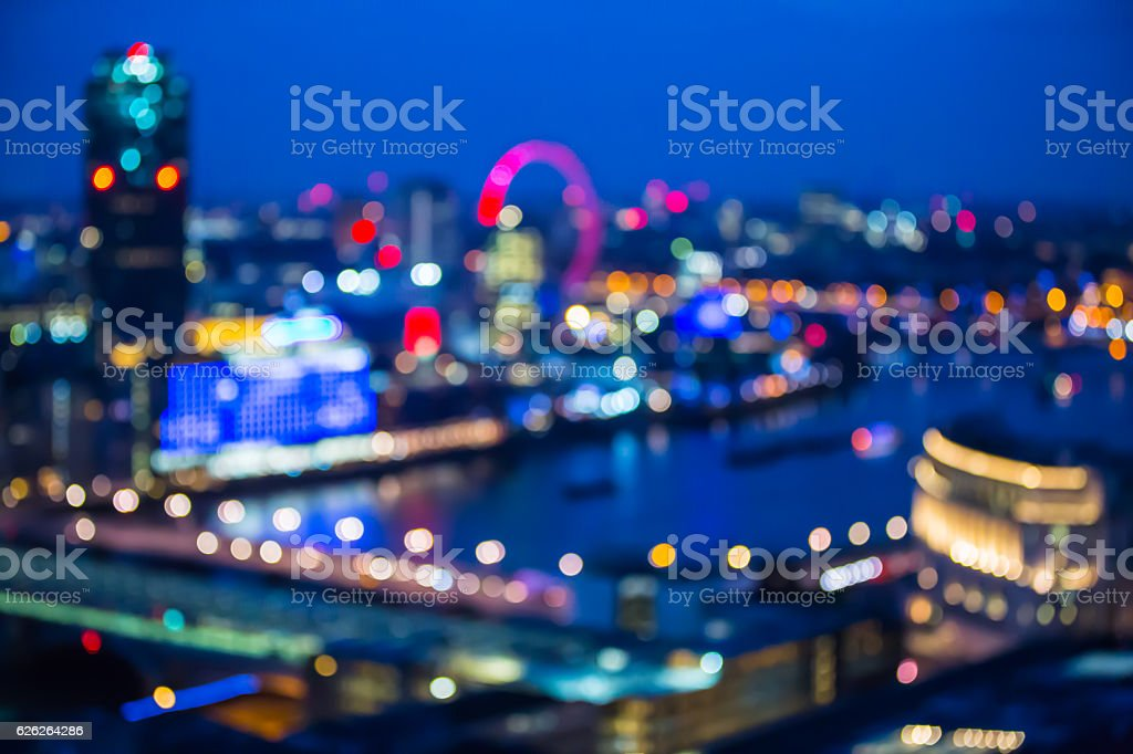 Abstract blur bokeh city of London night lights. stock photo