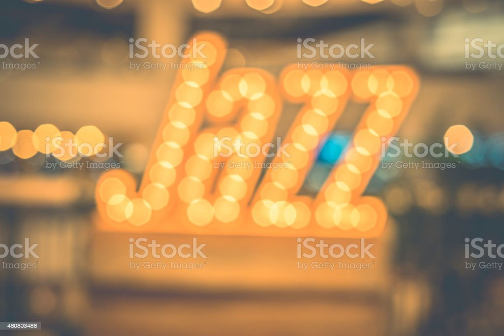 abstract blur bokeh in jazz word,music background,vintage filter stock photo