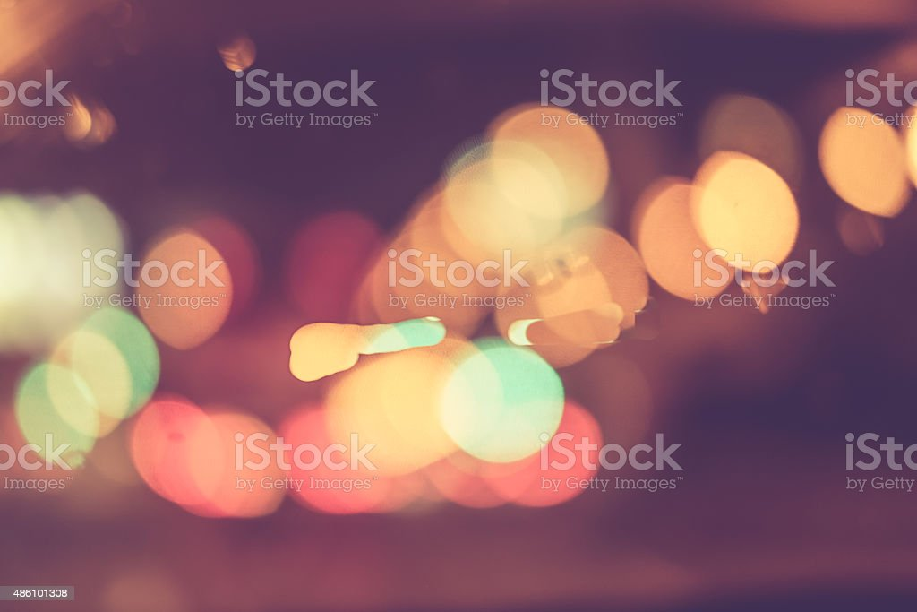 Abstract blur bokeh of traffic and car light for background stock photo