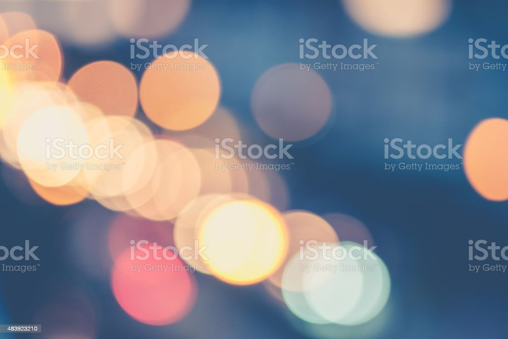 Abstract blur bokeh of traffic jam stock photo
