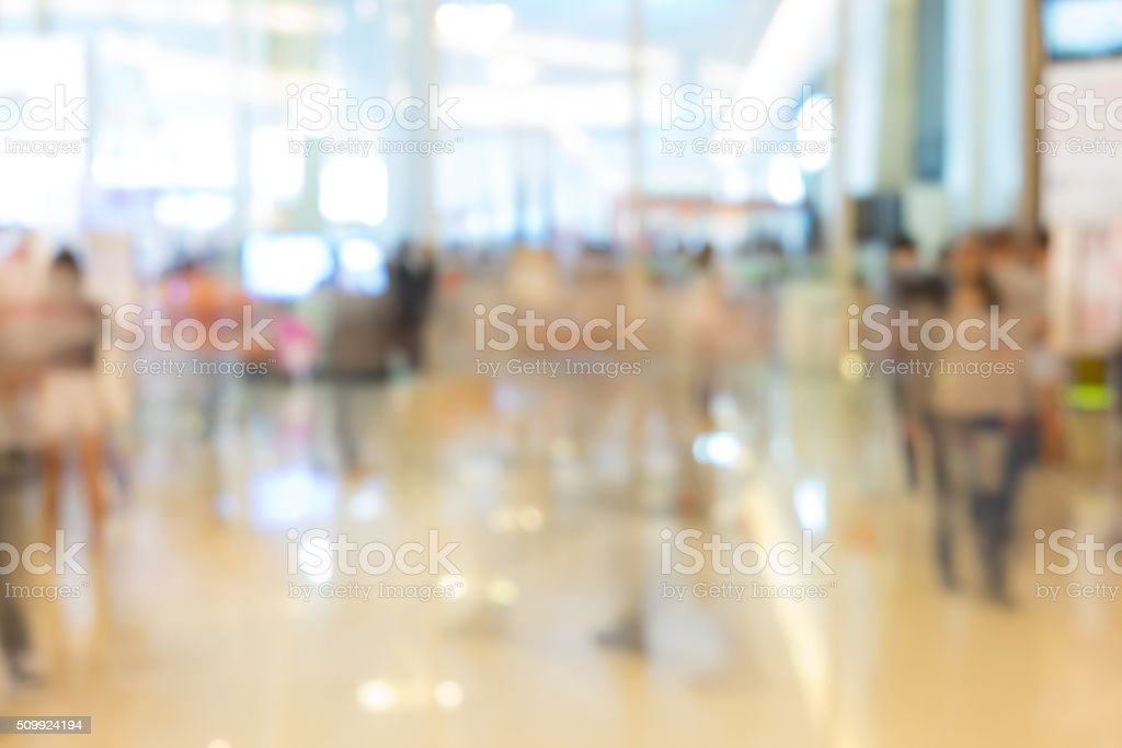 Abstract blur exhibition hall stock photo