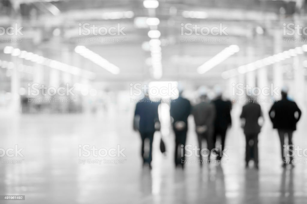 Abstract Blur from Engineers on white room for background stock photo