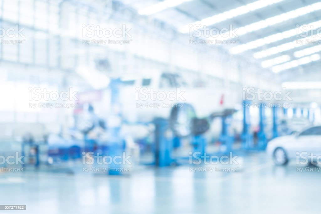 Abstract blur garage and automoblie stock photo