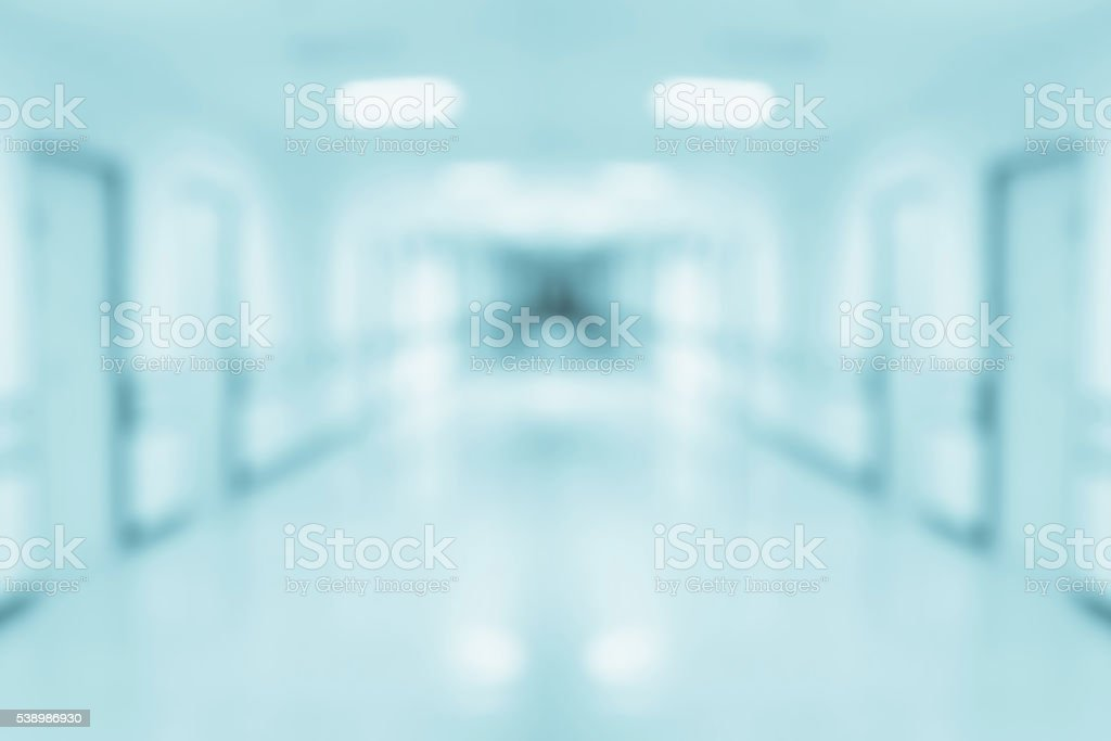 Abstract blur hospital corridor background stock photo