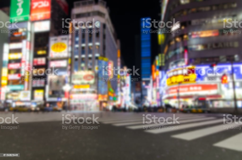 Abstract blur Kabukicho in Tokyo stock photo