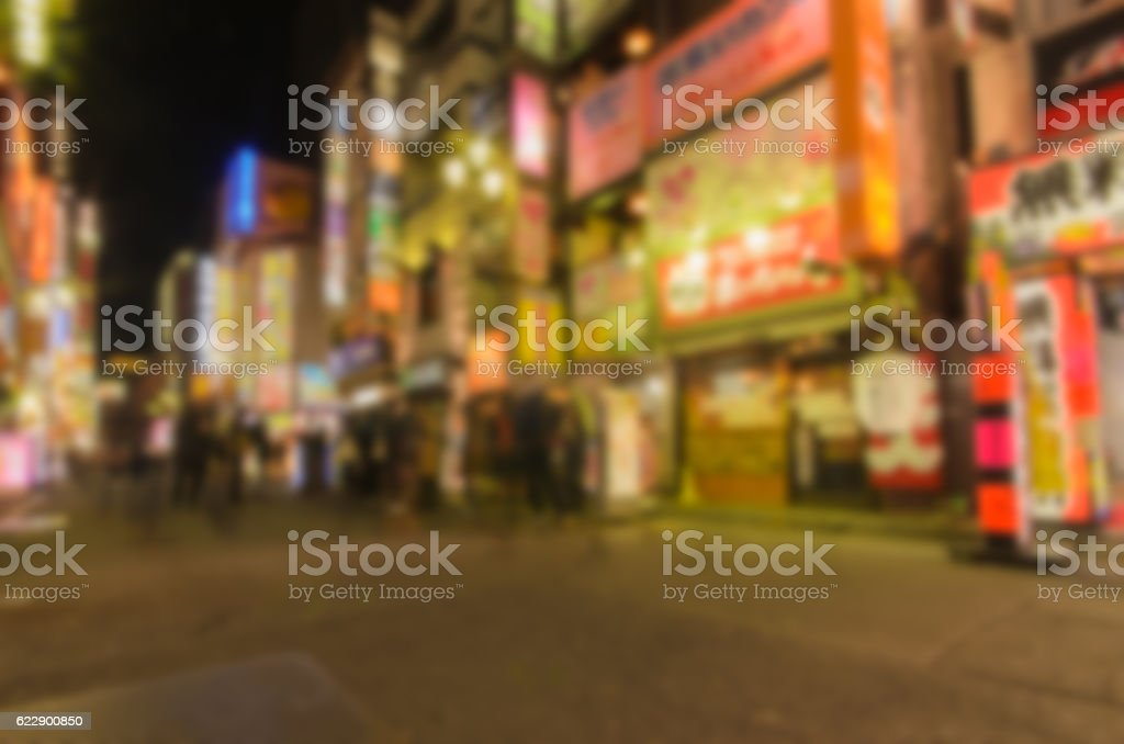Abstract blur .Kabukicho is an entertainment and red stock photo