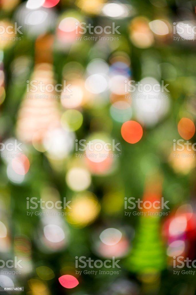 Abstract blur lighting decoration on Christmas tree. stock photo
