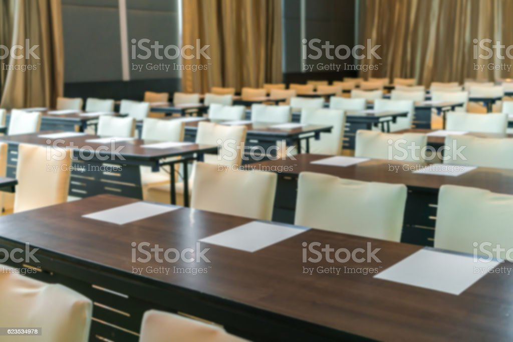 Abstract blur of an empty conference room before meeting stock photo
