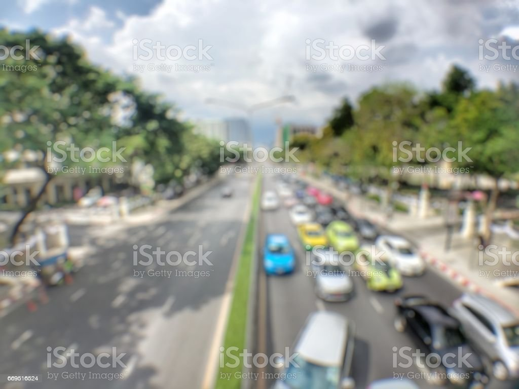 Abstract blur of traffic jam in the evening backgrounds stock photo