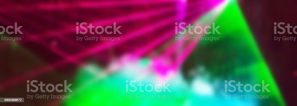 Abstract blur panoramic texture with bright colorful rays and smoke stock photo