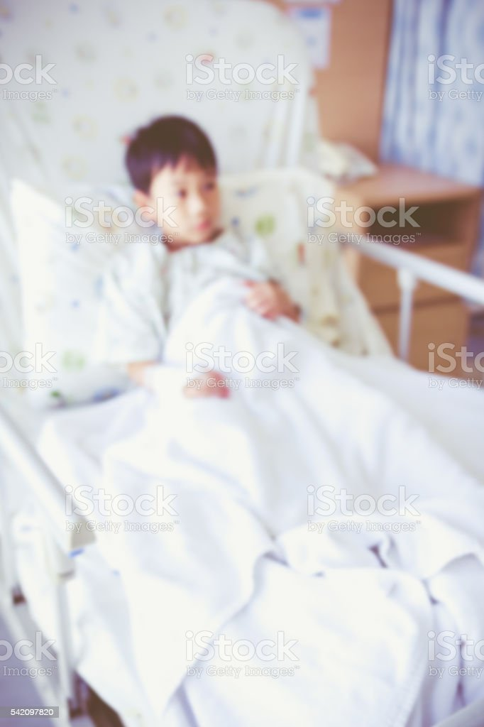Abstract blurred background of child admitted at hospital room. stock photo