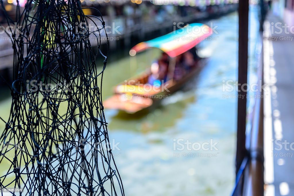 Abstract blurred background of tradition floating market in Bangkok, Thailand stock photo