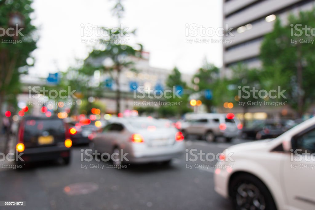 Abstract blurred background with car on road stock photo
