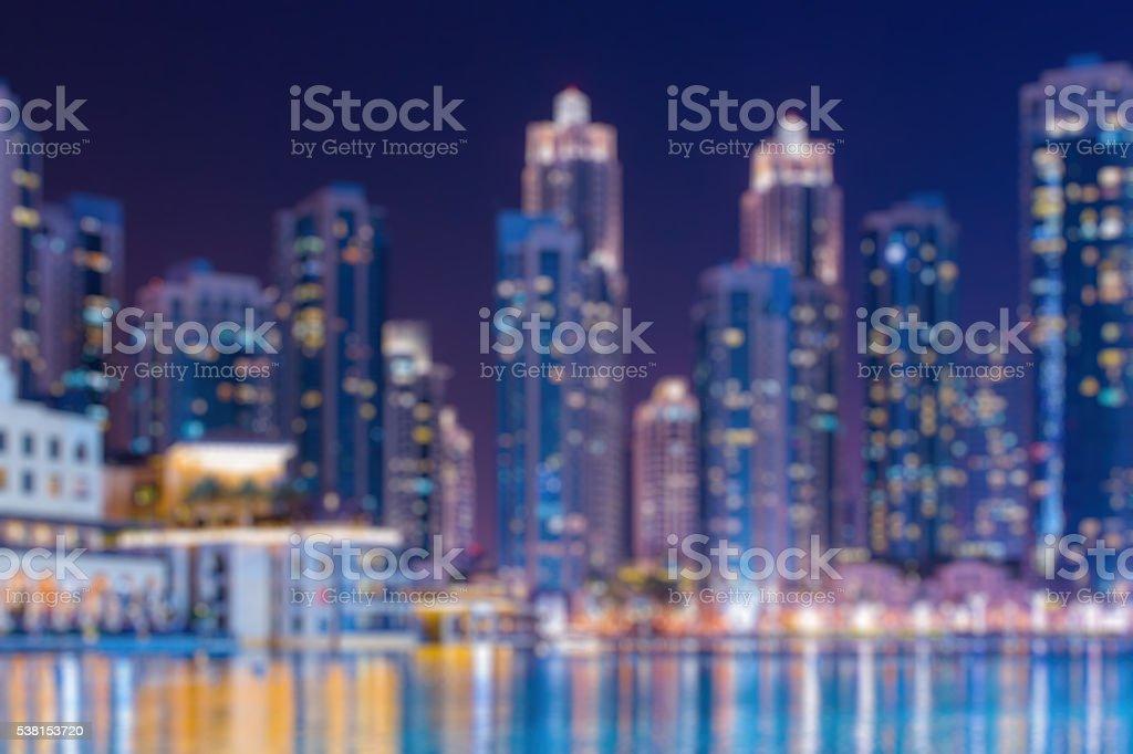 Abstract blurred bokeh lights at night: city panoramic view stock photo