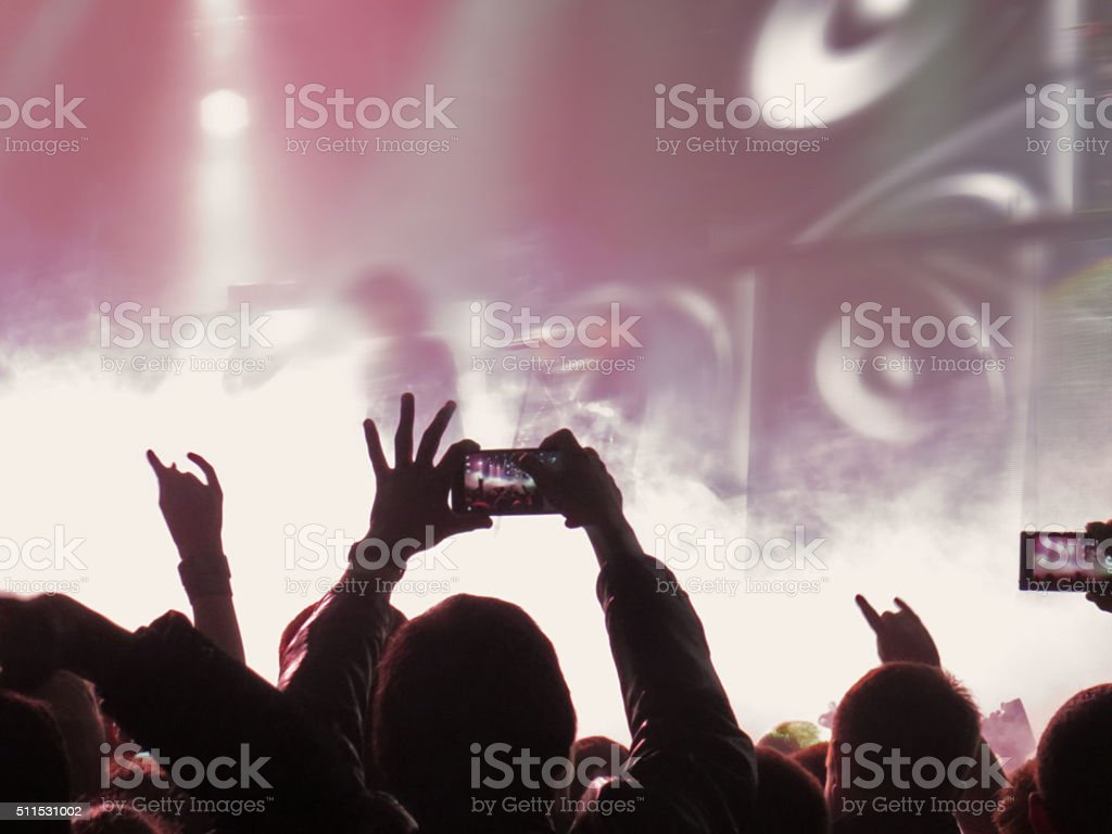 Abstract blurred image. Crowd People musical during public concert performance stock photo