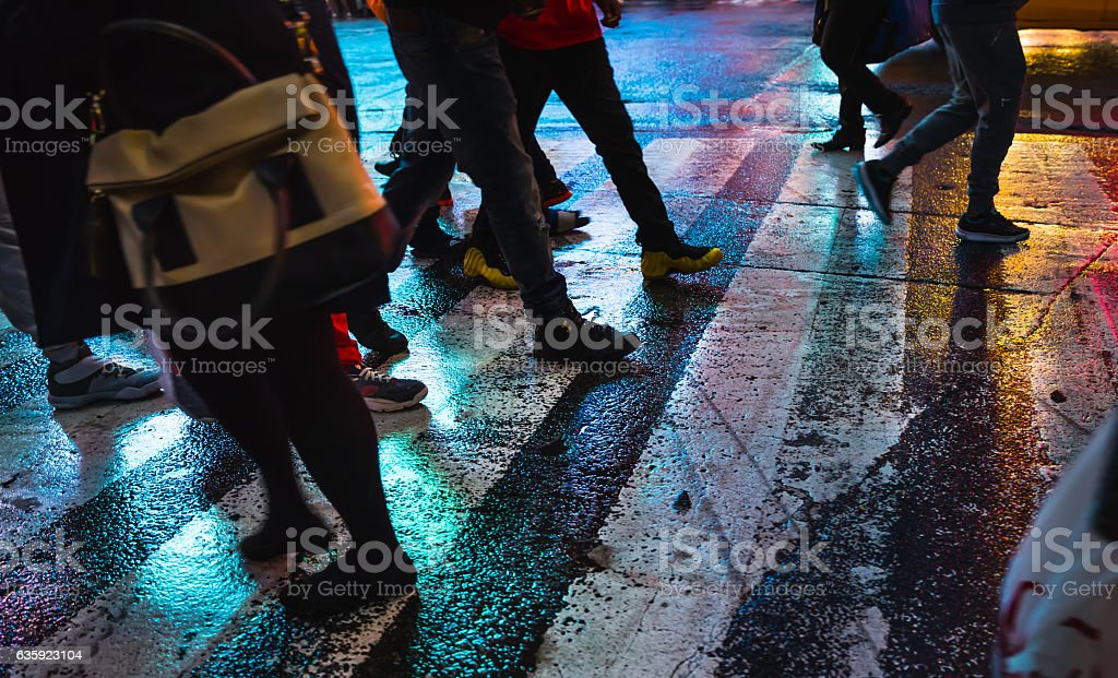 Abstract blurred image of NYC streets after rain with reflectio stock photo
