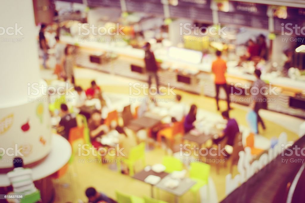 Abstract blurred image of people set up booth for Exhibition stock photo