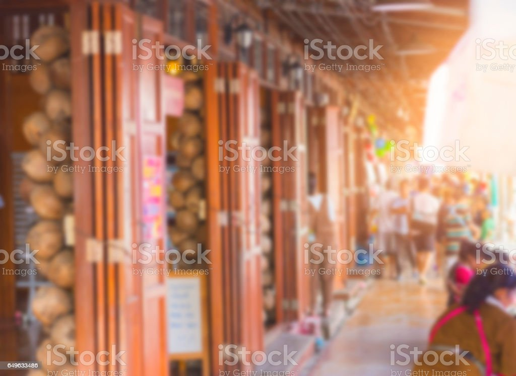Abstract Blurred in Amphawa Floating market, Samut Songkhram, Thailand. stock photo
