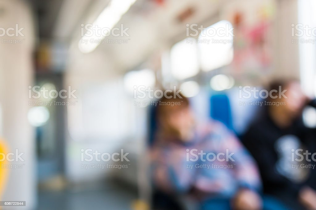 Abstract blurred Interior of train business transportation and t stock photo