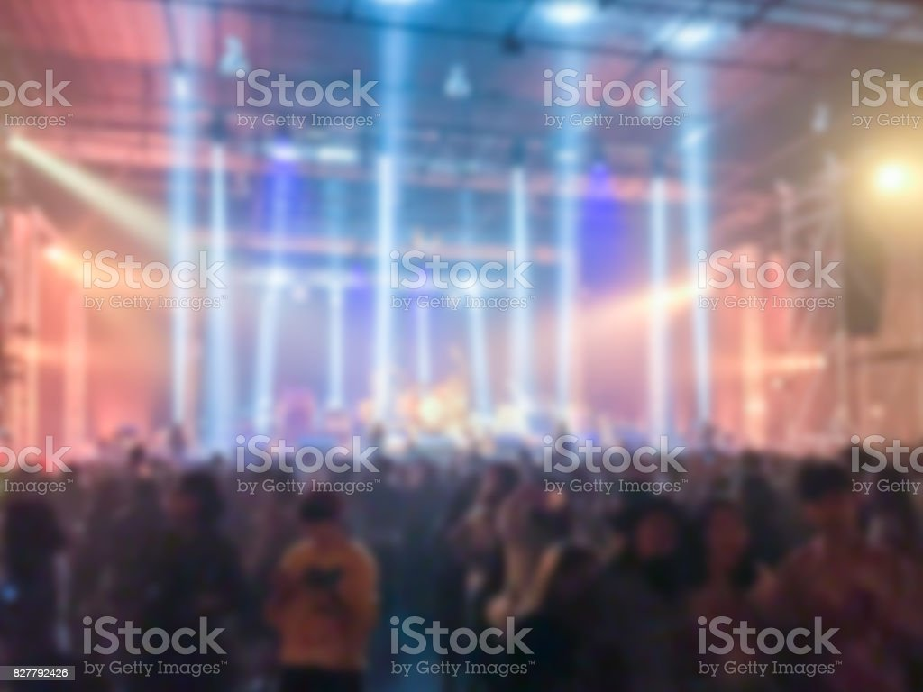 Abstract blurred of concert in small club . stock photo