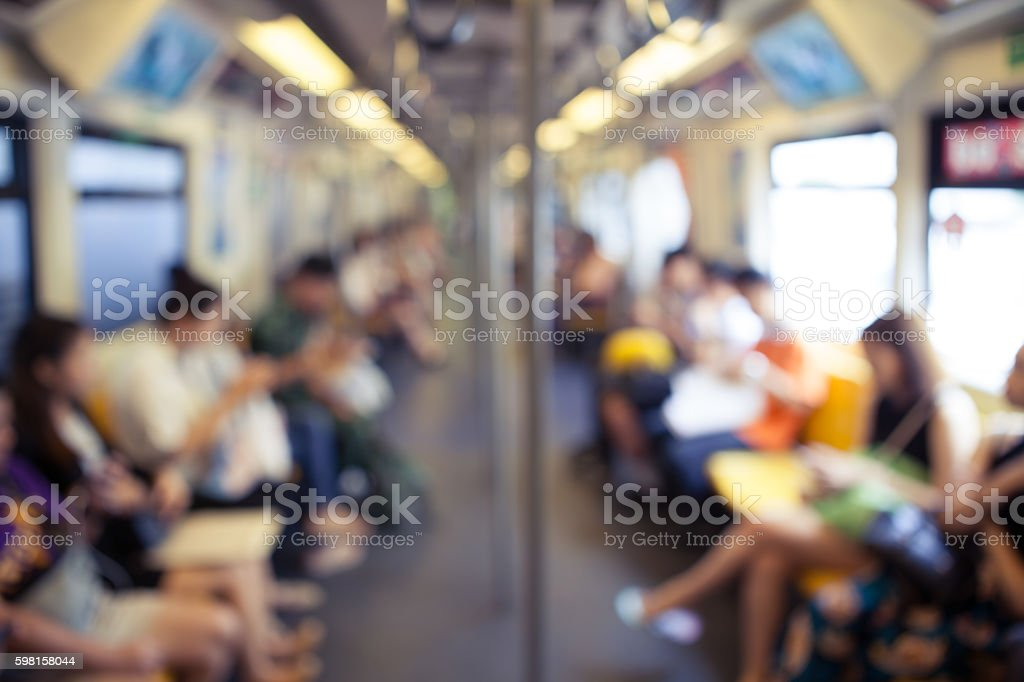 Abstract blurry background of passenger in skytrain stock photo