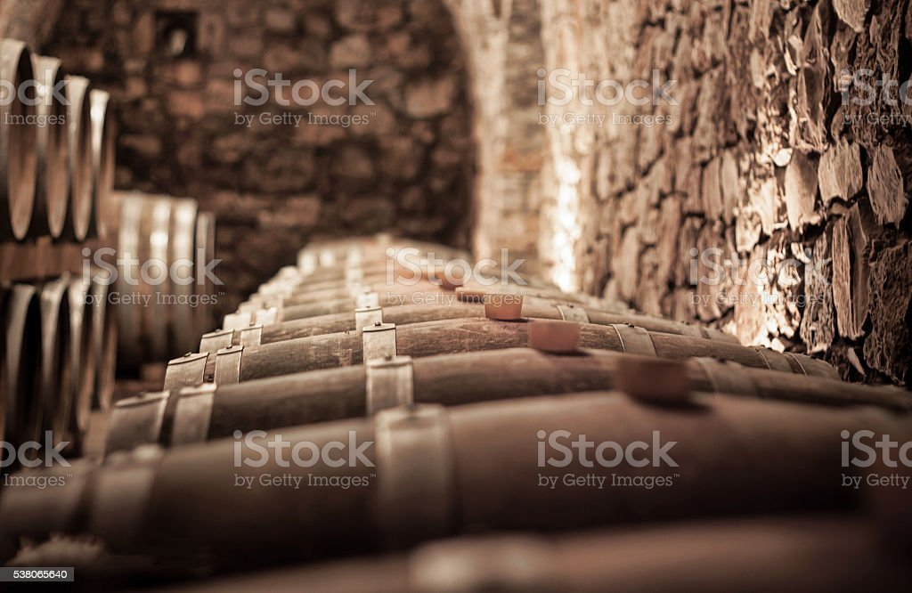 Abstract blurry background of wine cellar stock photo